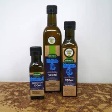 Leinsamen Öl Flaschen