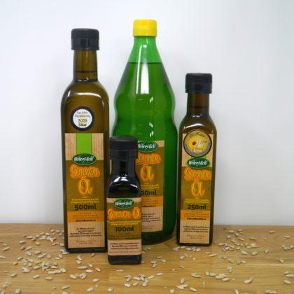 Sonnenblumen Öl Flaschen