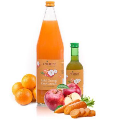 Apfel Karotten Saft in Flaschen